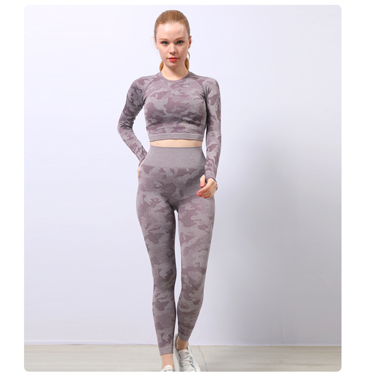 seamless long-sleeved new high-elastic hollow beautiful fitness clothes NSZJZ54102