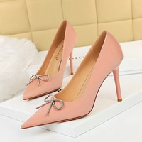 1932-3 han edition fashion high heels for women's shoes high heel with shallow mouth sweet pointed bow diamond single shoes