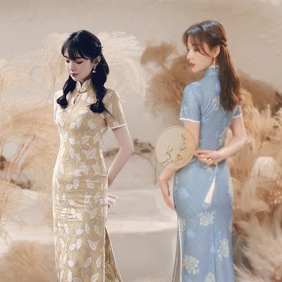 Women yellow blue Lace Qipao  Chinese dresses Shanghai Long cheongsam Dress