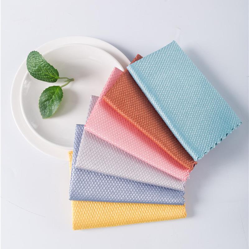 印花珊瑚绒抹布双层加厚吸水厨房清洁不沾油洗碗巾菠萝格鱼鳞抹布