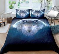 跨境爆款森林狼3D印花床上用品跨境外贸专供亚马逊eBay狼三四件套