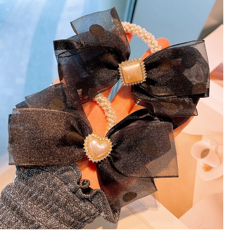 fashion ploka dots bow pearl hair rope NHHD336083