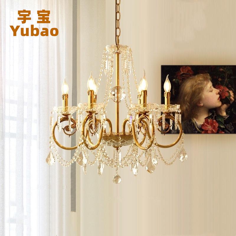 欧式水晶吊灯法式别墅全铜客厅餐厅卧室书房创意美式乡村复古灯具