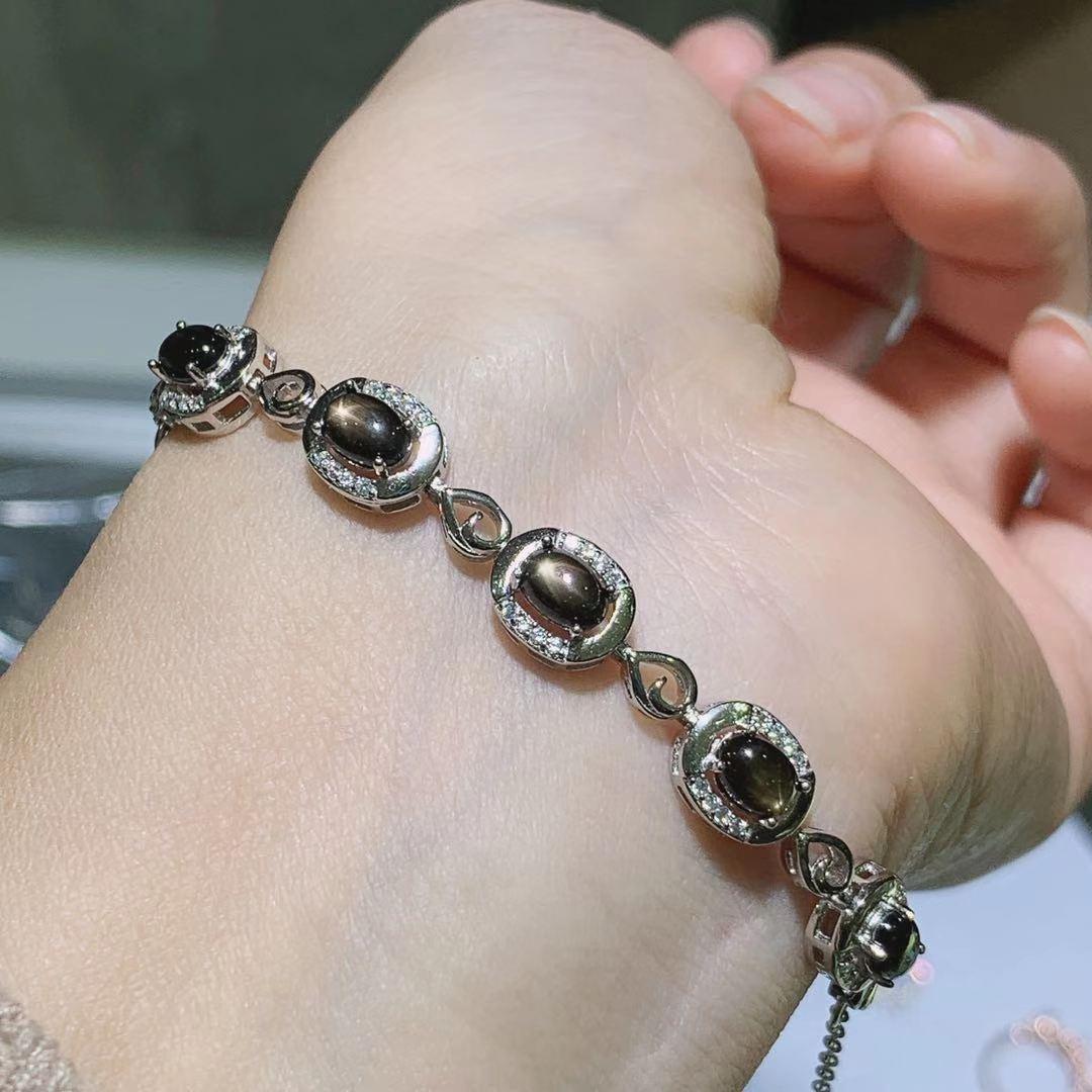 一件代发天然星光蓝宝石手链 欧美珠宝配饰925银镶嵌手串女礼物