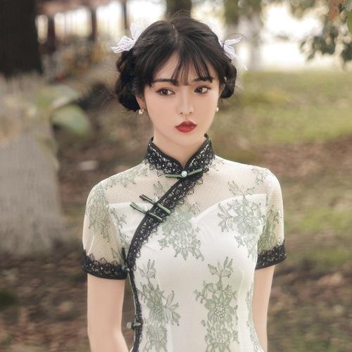 Women chinese traditional dresses oriental qipao Cheongsam dress retro lace Chinese dresses