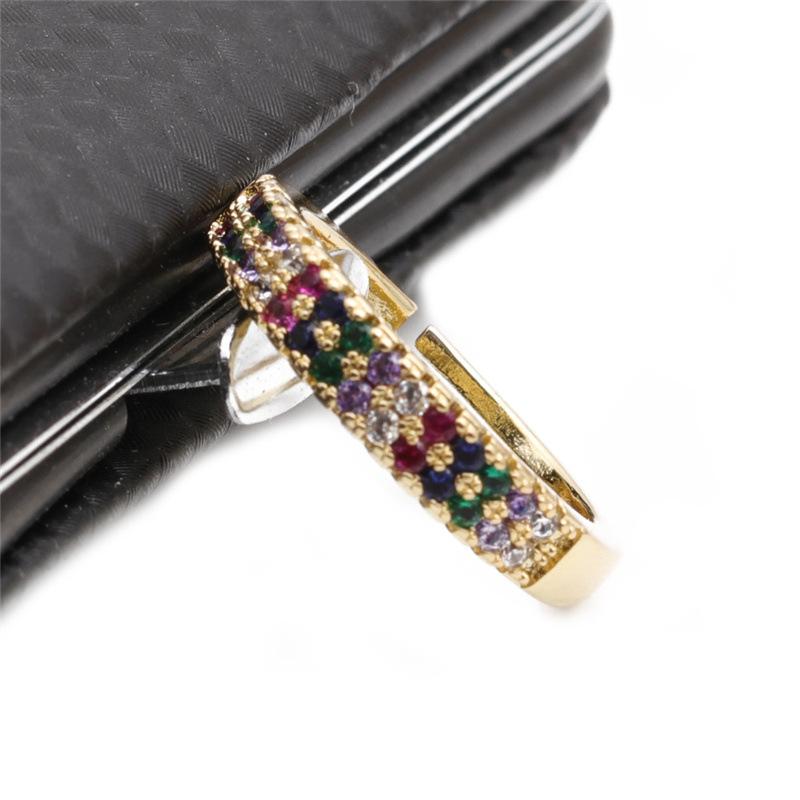 fashion geometric copper zircon opening ring NHYL333061