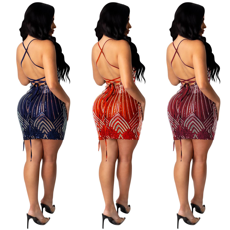 women's sequin suspenders V-neck dress nihaostyles clothing wholesale NSXYZ78221