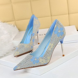 869-9 han edition style banquet high heels for women's shoes high heel with shallow mouth pointed flowers single sequined cloth shoes