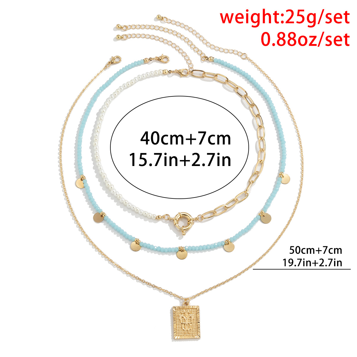 retro woven beaded square brand metal sequin necklace wholesale Nihaojewelry NHXR404631