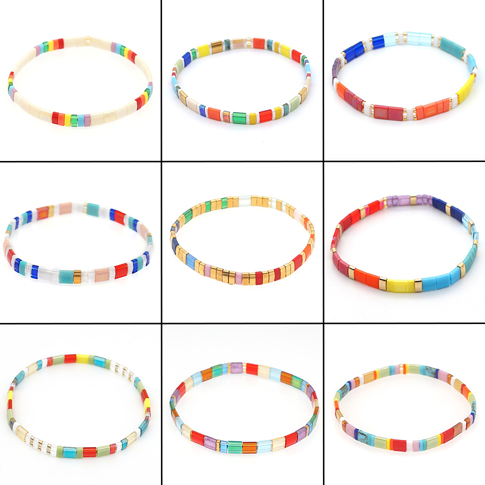 Simple multilayered rainbow glass beads woven striped bracelet NHGW336402