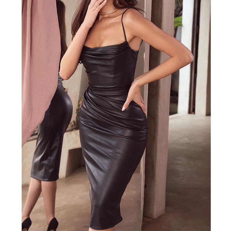 2021外贸ins新款亚马逊派对女装 欧美夜店性感PU皮褶皱吊带连衣裙