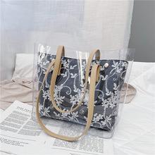 韩版大包包女2021新款潮透明手提包时尚亮片大容量单肩托特包