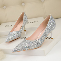 859-7 han edition fashion show thin thin and sexy high-heeled shoes lighter pointed shining sequins shoes wedding party list