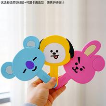 厂家直售韩版化妆小镜子便携口袋镜定制 卡通pvc手柄镜小圆镜现货
