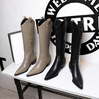 009-6 in Europe and the new winter fashion female boots, thick with high restoring ancient ways with pointed knights of British wind high boots boots