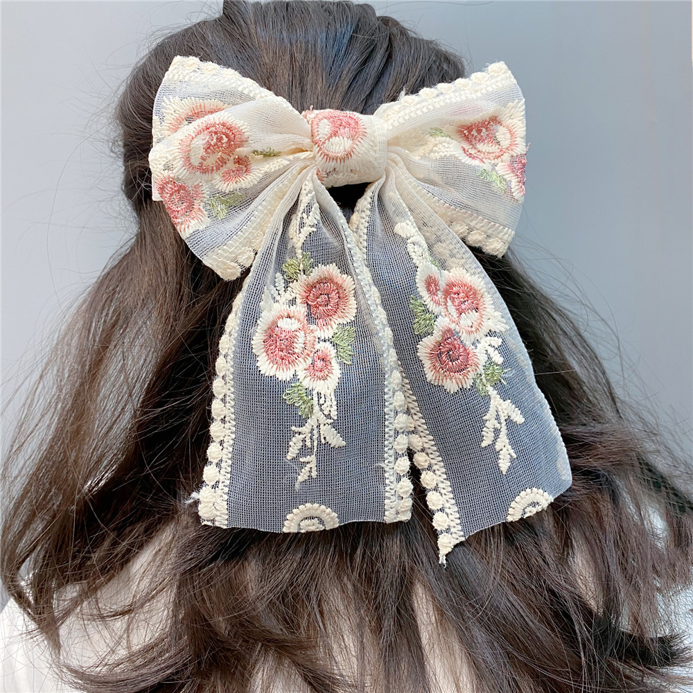 Fashion Embroidered Ribbon Double Large Bowknot Lace Hairpin NHFS336491