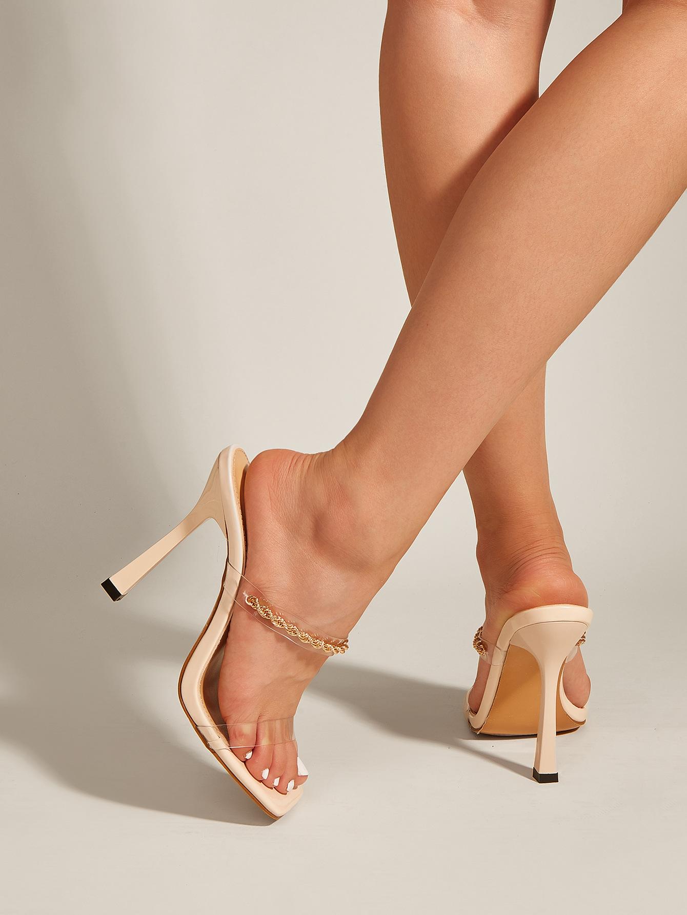 fashion transparent PVC metal chain square toe highheeled slippers NHSO367889