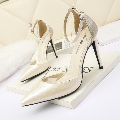 7722-5 han edition pointed web celebrity fashion high heels a word show thin and sexy sandals, transparent thin with women's shoes
