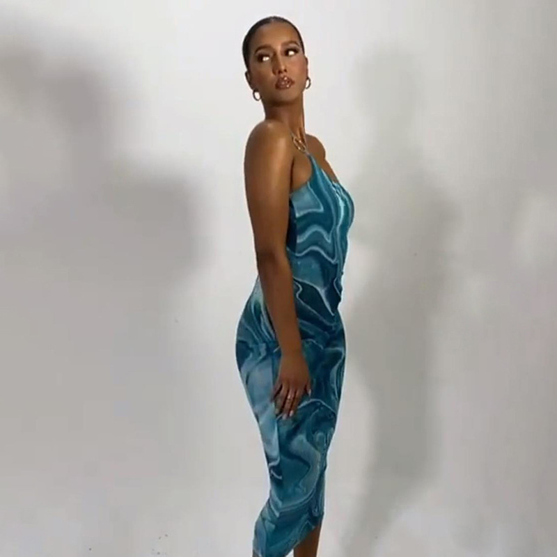 Fashion Blue Low-cut Printed And Dyed Dress With A Sling Neckline