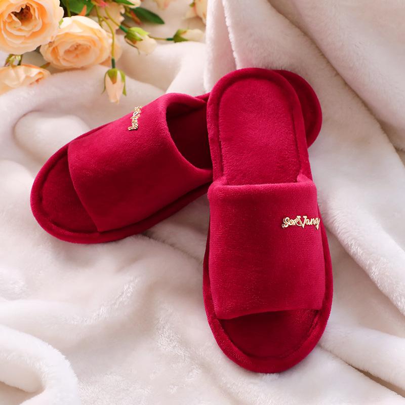 结婚庆用品红色拖鞋家居水晶绒磨毛拖鞋陪嫁情侣拖鞋冬季保暖