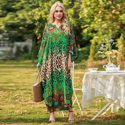 Women Loose robe seaside Green floral beach dresses vacation print long skirt plus size dress for lady