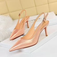 8999-1 the European and American wind contracted fine with high heels shallow mouth pointed hollow out after strappy pedicure delicate show thin women's shoes