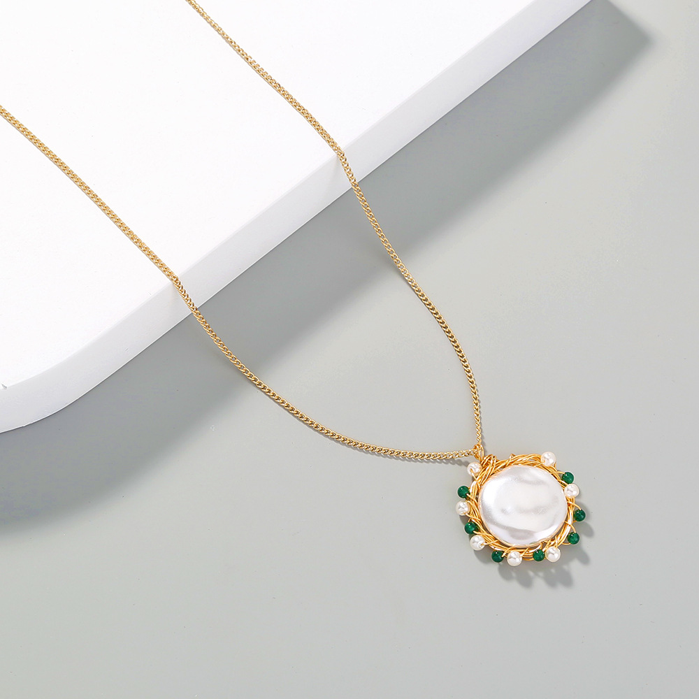 fashion retro pearl green natural stone pendant necklace NHAN300380