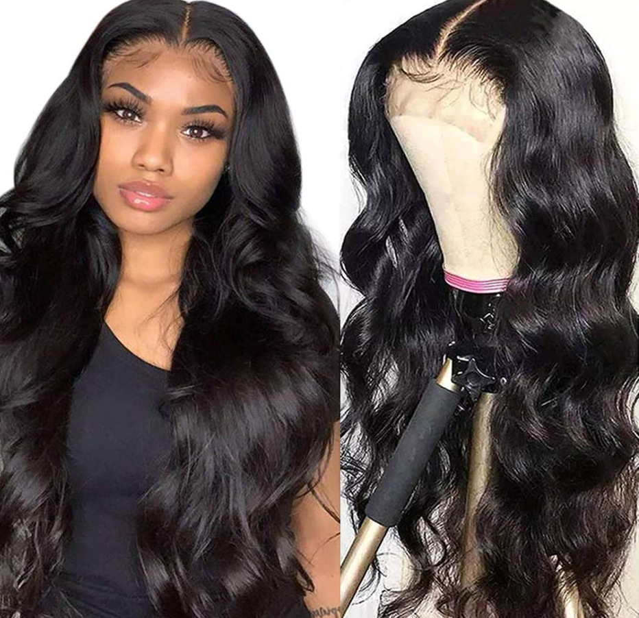 Real Hair Wig European And American Wig Women's Long Curly Hair Split Front Lace 4 * 4 Lace Front Wig