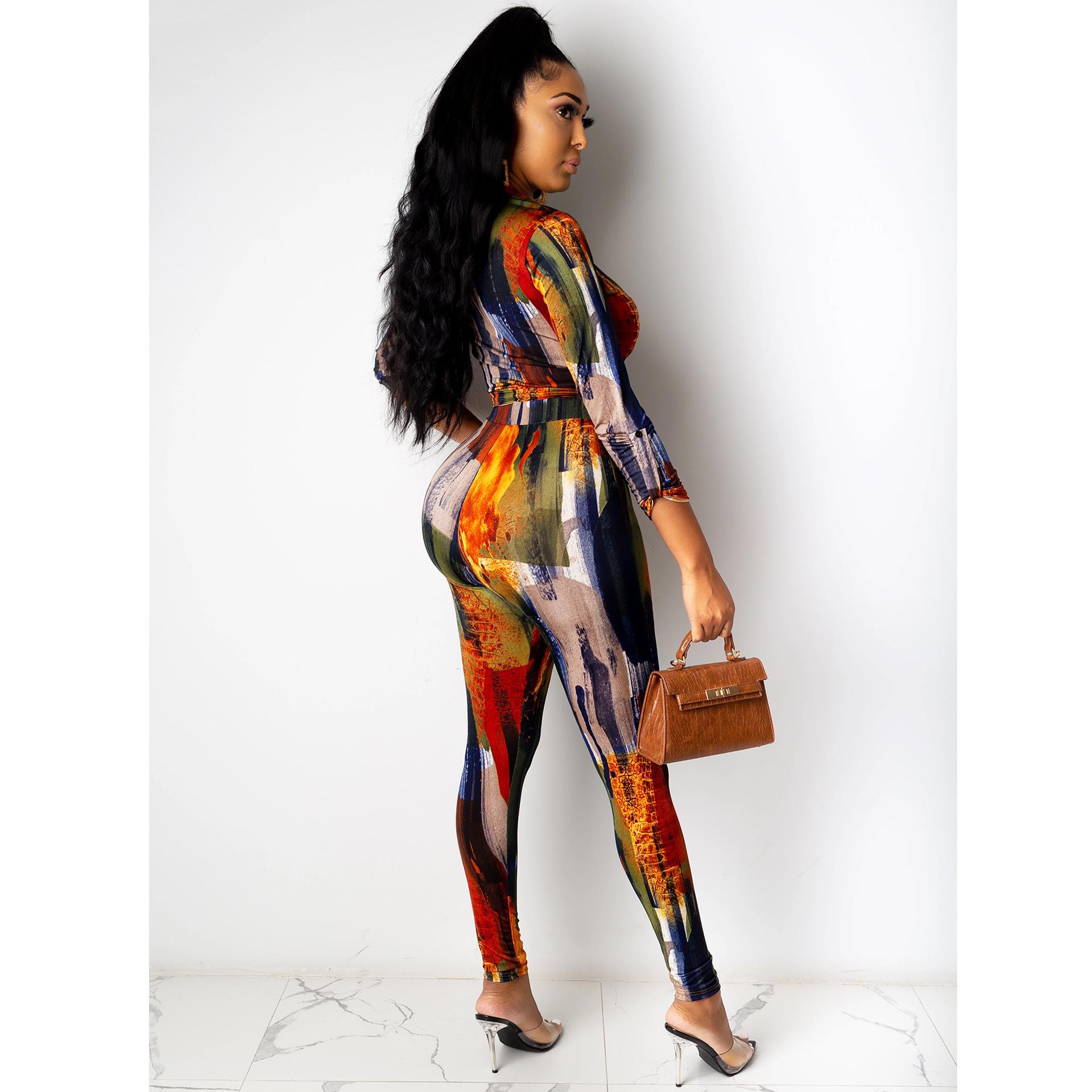 digital printing V-neck long-sleeved shirt trousers set nihaostyles clothing wholesale NSXYZ81564