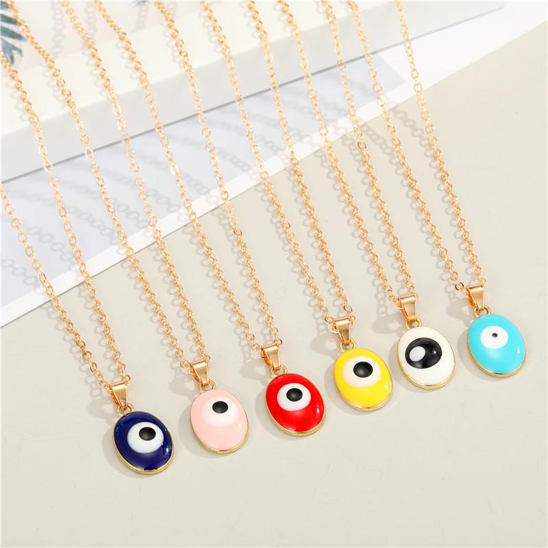 Bohemian Oval Demon Eye Alloy Necklace Wholesale NHGO329699