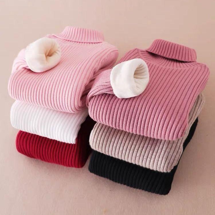 包邮男童毛衣秋冬洋气女童2020高领套头长袖加绒加厚宝宝针织打底