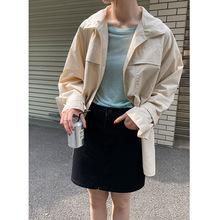 2021春夏新款韓版寬松簡約休閑小個子短款腰帶風衣外套女 27167