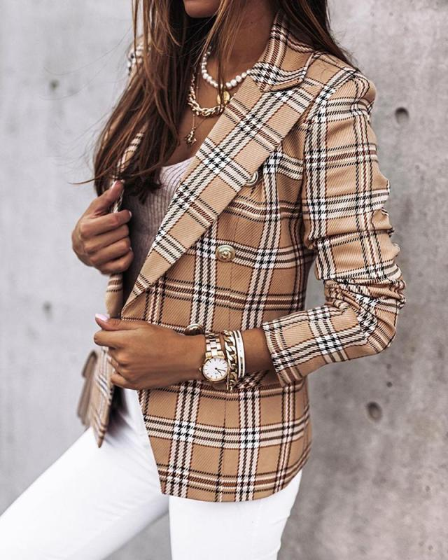 women s long-sleeved double-breasted plaid printed blazer nihaostyles clothing wholesale NSYF79509