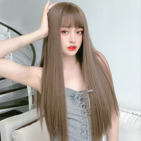 Wig for women long straight hair stage performance cosplay natural full headgear black long straight hair with air bangs