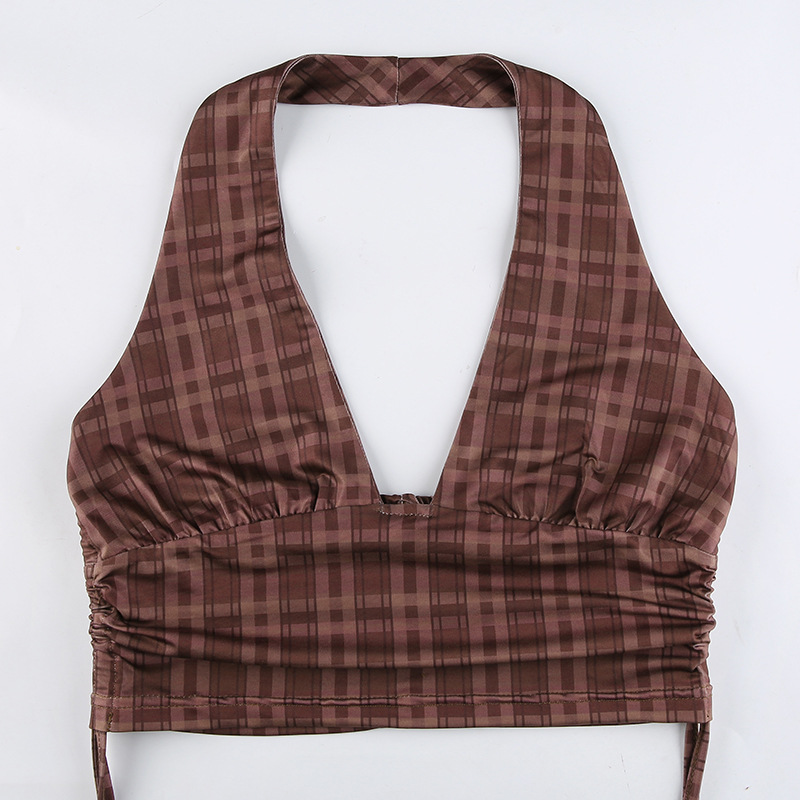 drawstring pleated plaid camisole NSLQ47502
