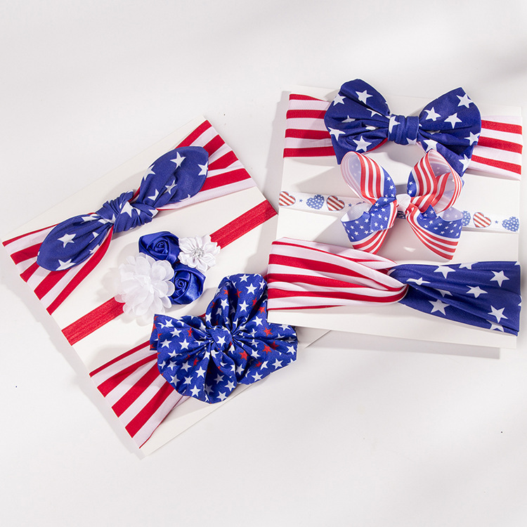 American Independence Day childrens rabbit ears bow headband NHWO335106
