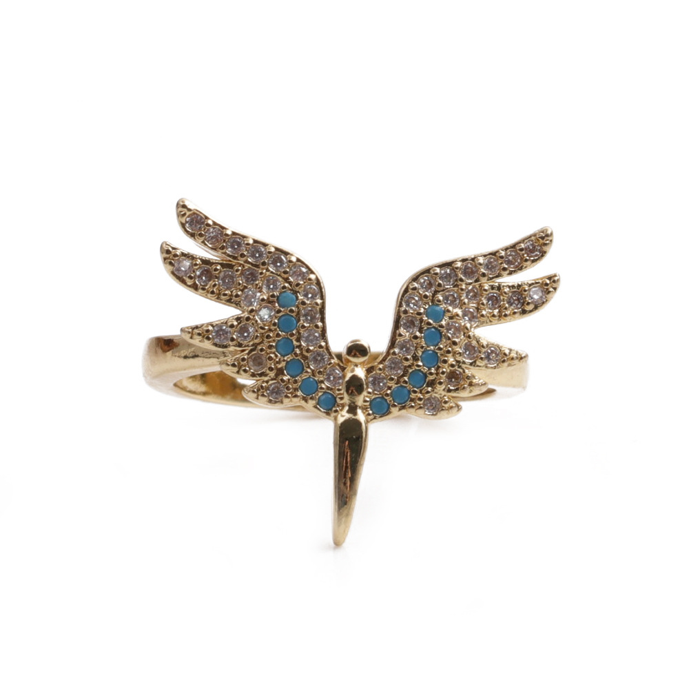 Fashion angel wings copper inlaid zircon rings wholesale NHYL348761
