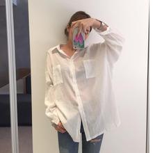 防晒衬衫韩版中长款宽松薄透视上衣2021夏季bf白色长袖衬衣外套潮