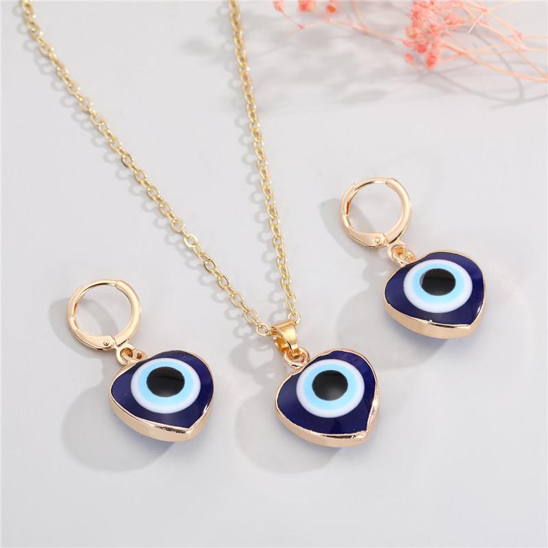 Fashion Heart Devil Eye Earrings Necklace NHGO300085