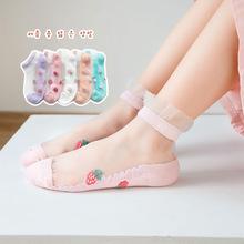 女童袜子春夏季新品薄款冰丝儿童袜子透气网眼棉底短袜女孩公主袜