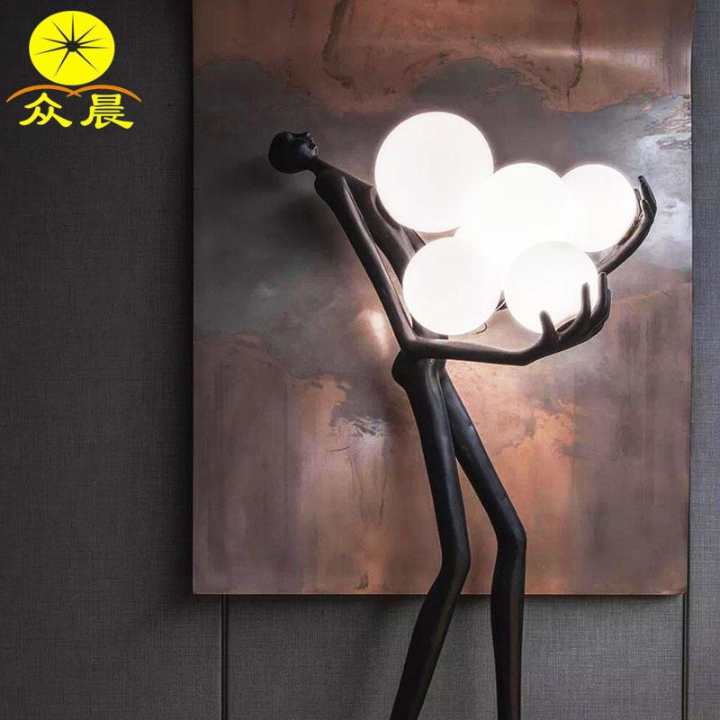 定制工程灯北欧人体雕塑创意简约现代样板间酒店售楼处摆件落地灯