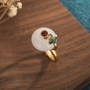 Lucky buckle ring ancient gold burnt blue auspicious clouds gold-plated Hetian jade cloisonne auspicious clouds retro temperament ladies ring