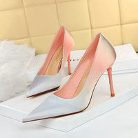 6223-1 han edition fashion high-heeled shoes high heel with shallow pointed mouth sweet satin color matching color gradient single shoes