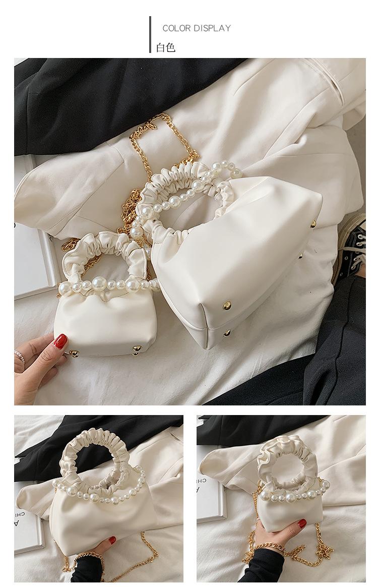 Wholesale Pleated Pearl Chain Solid Color Handbag Nihaojewelry NHTG388382
