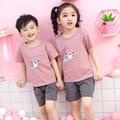 儿童短袖套装纯棉男童夏季2021新款女童装宝宝中小童衣服套装批发