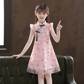 Girls kids lace pink chinese dresses oriental qipao dress tang suit chongsam fairy dresses for girls