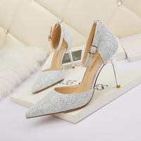 6222-7 in Europe and the sexy light pointed mouth high-heeled shoes nightclub show thin one word with women's shoes and party shoes