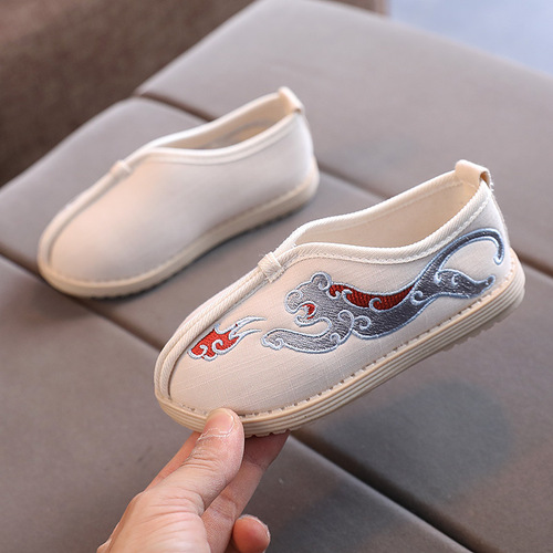 Boys kids Hanfu shoes Chinese traditional style folk costume clothing Old Beijing shoes for baby Wushu Chinese kung fu stage performance embroidered shoes