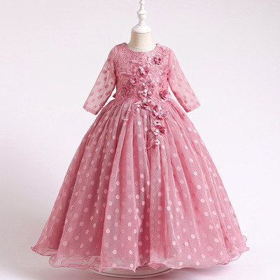 Children dress long sleeve Polka Dot girl dress flower decoration British Princess Dress