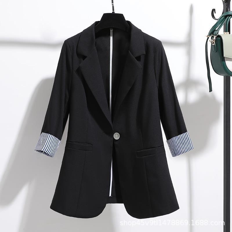 小西装外套女2020春夏新款跨境外贸韩版修身垂感薄款七分袖上衣女